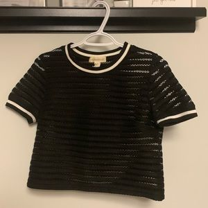 Forever 21 Black Translucent Cropped Tee Shirt
